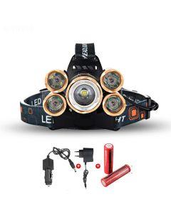 LED-strålkastare 5000 Lumens High Power LED-strålkastare Boruit 5XCree XM-L 4 Mode Headlamp-Complete Set