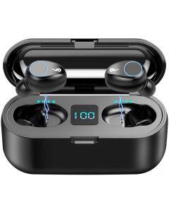 F9 TWS Wireless Bluetooth 5.0 Earbuds, IPX7 Vattentät Touch Headphones In-Ear Sports Running Hörlurar
