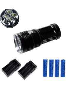 Eternalfire King 4T6 4 * CREE XM-L T6 LED Torch 4000 Lumens 3 Modes LED ficklampa-svart-komplett set