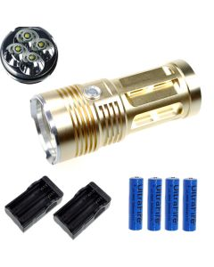 Eternalfire King 4T6 4 * CREE XM-L T6 LED-facklampa 4000 Lumens 3 Modes LED ficklampa-Glod-Complete Set