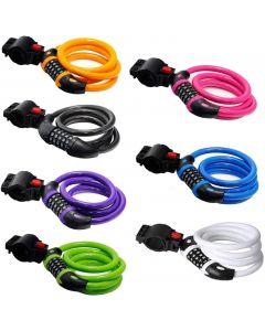 Cykellås Hög säkerhet 5-siffrigt återställbar kombination Coiling Cable Lås Bäst för cykel utomhus