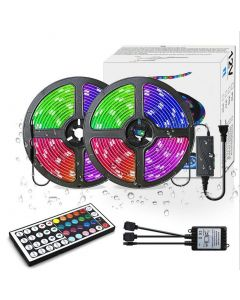 LED Strip Lights RGB 300LED 10M Färgbyte 5050 Flexibel LED-repbelysning LED Strip Lights Kit med 44 Keys IR Fjärrkontroll och UL Strömförsörjning till sovrumsrum Hem Kitche