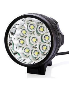 9T6 Cykelljus 9 * CREE XM-L T6 10800 LUMENS 3 MODES LED Cykelbelysning inkluderar batteri och laddare - Svart