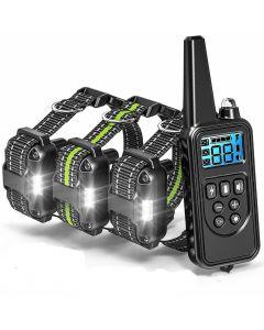 800m Electric Dog Training Collar med LCD-skärm PET Fjärrkontroll Vattentät uppladdningsbara krage för Shock Vibration Sound