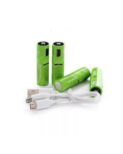 Uppladdningsbara AA-batterier 1000mAh Batteri med USB-portar Högkapacitet 1.2V NiMH Lågt Självutsläppsuppladdningsbart Batteri AA Laddning av USB-kabel (4 Pack + USB-kabel)