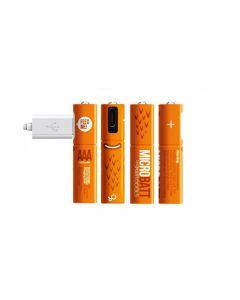Uppladdningsbart 1.2V 450MAH AAA Ni-MH USB-batteri för fjärrkontroll Mus Snabbladdning av Micro USB-kabel (4 Pack + USB-kabel)
