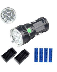 ETERNALFIRE KING 8T6 8 * CREE XM-L T6 LED TORCH 8000 LUMENS 3 MODES LED FLASHLIGHT-Black-Complete Set