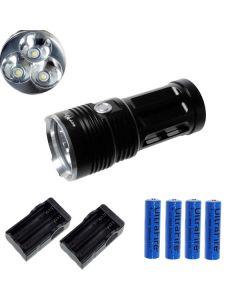 ETERNALFIRE KING 3T6 3 * CREE XM-L T6 LED TORCH 3000 LUMENS 3 MODES LED FLASHLIGHT-Black-Complete Set