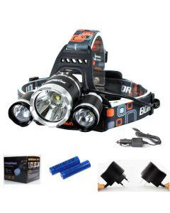 LED-strålkastare 3000 Lumens High Power LED-strålkastare Boruit 3XCree XM-L 4 Mode Headlamp-Complete Set