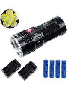 ETERNALFIRE KING 6T6 6 * CREE XM-L T6 LED TORCH 6000 LUMENS 3 MODES LED FLASHLIGHT-Black-Complete Set