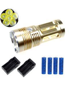 Eternalfire King 6T6 6 * CREE XM-L T6 LED Torch 6000 Lumens 3 Modes LED ficklampa-Glod-Complete Set