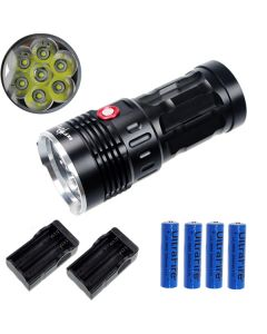 ETERNALFIRE KING 7T6 7 * CREE XM-L T6 LED TORCH 7000 LUMENS 3 MODES LED ficklampa-svart-komplett set